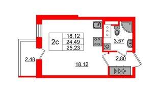Квартира в ЖК «Чистое небо», студия, 24.49 м², 2 этаж