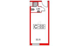 Апартаменты в ЖК ZOOM apart, студия, 25 м², 7 этаж