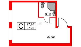 Апартаменты в ЖК ZOOM apart, студия, 27.2 м², 3 этаж