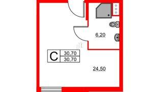 Апартаменты в ЖК ZOOM apart, студия, 30.7 м², 4 этаж