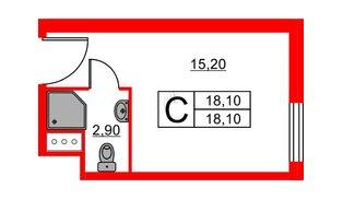 Апартаменты в ЖК ZOOM apart, студия, 18.1 м², 10 этаж