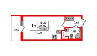 Квартира в ЖК «Чистое небо», студия, 24.92 м², 6 этаж