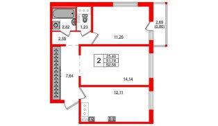 Квартира в ЖК Ручьи, 2 комнатная, 52.58 м², 12 этаж