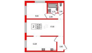 Квартира в ЖК Ручьи, 2 комнатная, 49.21 м², 1 этаж