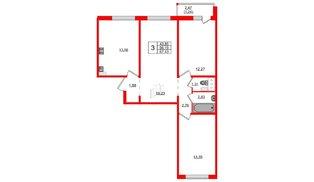 Квартира в ЖК Ручьи, 3 комнатная, 67.43 м², 2 этаж