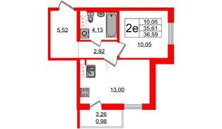 Квартира в ЖК «IQ», 1 комнатная, 36.6 м², 1 этаж