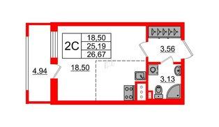 Квартира в ЖК Эмеральд на Малой Неве, студия, 25.19 м², 6 этаж