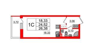 Квартира в ЖК Солнечный город, студия, 24.52 м², 2 этаж