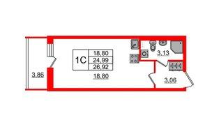 Квартира в ЖК Солнечный город, студия, 24.99 м², 1 этаж