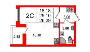 Квартира в ЖК Солнечный город, студия, 25.1 м², 1 этаж