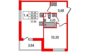 Квартира в ЖК «Солнечный город», 1 комнатная, 36.82 м², 1 этаж