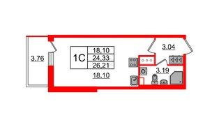 Квартира в ЖК Солнечный город, студия, 24.33 м², 2 этаж