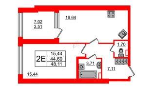 Квартира в ЖК Континенты, 1 комнатная, 44.6 м², 2 этаж