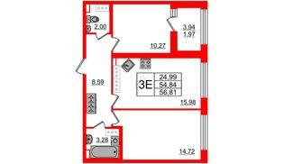 Квартира в ЖК Континенты, 2 комнатная, 54.84 м², 19 этаж