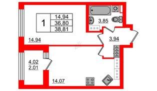 Квартира в ЖК Континенты, 1 комнатная, 36.8 м², 27 этаж