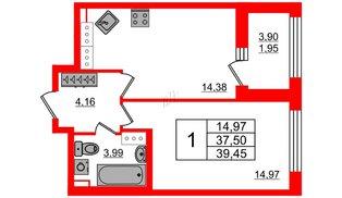 Квартира в ЖК Континенты, 1 комнатная, 37.5 м², 27 этаж