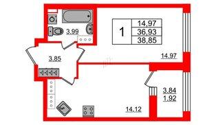 Квартира в ЖК Континенты, 1 комнатная, 36.93 м², 24 этаж