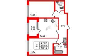 Квартира в ЖК Континенты, 2 комнатная, 55.85 м², 3 этаж