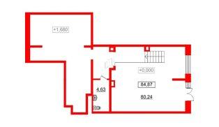 Помещение в ЖК Стрижи в Невском, 84.87 м², 1 этаж
