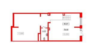 Помещение в ЖК Стрижи в Невском, 80.81 м², 1 этаж