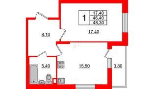 Квартира в ЖК Квартал Che, 1 комнатная, 48.3 м², 1 этаж