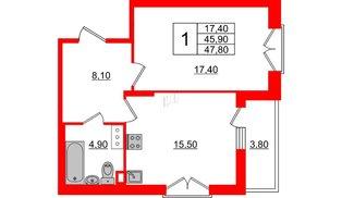 Квартира в ЖК Квартал Che, 1 комнатная, 47.8 м², 2 этаж