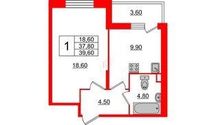 Квартира в ЖК Квартал Che, 1 комнатная, 39.6 м², 2 этаж
