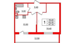 Квартира в ЖК Квартал Che, 1 комнатная, 47.1 м², 2 этаж