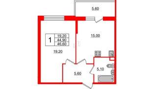 Квартира в ЖК Квартал Che, 1 комнатная, 46.6 м², 1 этаж