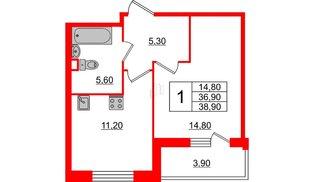 Квартира в ЖК Квартал Che, 1 комнатная, 38.9 м², 1 этаж