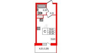 Квартира в ЖК Аквилон Sky, студия, 23.38 м², 17 этаж