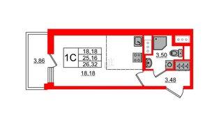 Квартира в ЖК «Чистое небо», студия, 25.16 м², 3 этаж