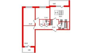 Квартира в ЖК «Чистое небо», 3 комнатная, 77.66 м², 4 этаж