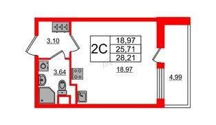 Квартира в ЖК «Чистое небо», студия, 25.71 м², 1 этаж