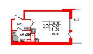 Квартира в ЖК «Чистое небо», студия, 30.3 м², 2 этаж