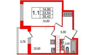 Квартира в ЖК «Чистое небо», 1 комнатная, 33.54 м², 22 этаж