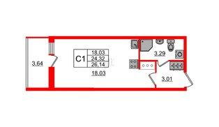 Квартира в ЖК «Солнечный город», студия, 24.32 м², 2 этаж
