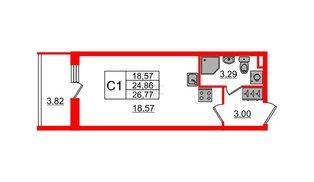 Квартира в ЖК Солнечный город, студия, 24.86 м², 1 этаж