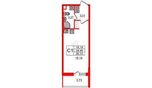 Квартира в ЖК Солнечный город, студия, 24.46 м², 8 этаж