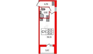 Квартира в ЖК Солнечный город, студия, 26.73 м², 1 этаж