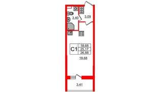 Квартира в ЖК Солнечный город, студия, 25.17 м², 1 этаж