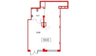 Помещение в ЖК Аквилон Sky, 59.83 м², 1 этаж
