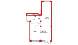Помещение в ЖК Аквилон Sky, 56.2 м², 1 этаж