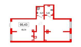 Помещение в ЖК Эмеральд на Малой Неве, 95.43 м², 1 этаж