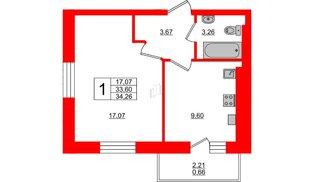 Квартира в ЖК Олимпия-6, 1 комнатная, 34.26 м², 1 этаж
