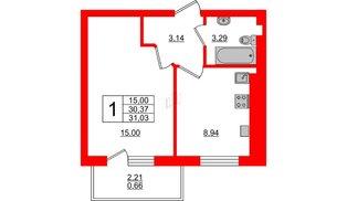 Квартира в ЖК Олимпия-8, 1 комнатная, 31.03 м², 4 этаж