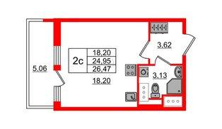Квартира в ЖК «Чистое небо», студия, 24.95 м², 8 этаж