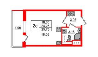 Квартира в ЖК «Чистое небо», студия, 24.25 м², 3 этаж
