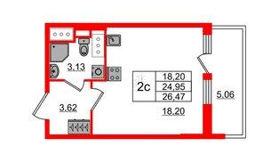 Квартира в ЖК «Чистое небо», студия, 24.95 м², 15 этаж