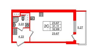 Квартира в ЖК «Чистое небо», студия, 31.11 м², 9 этаж